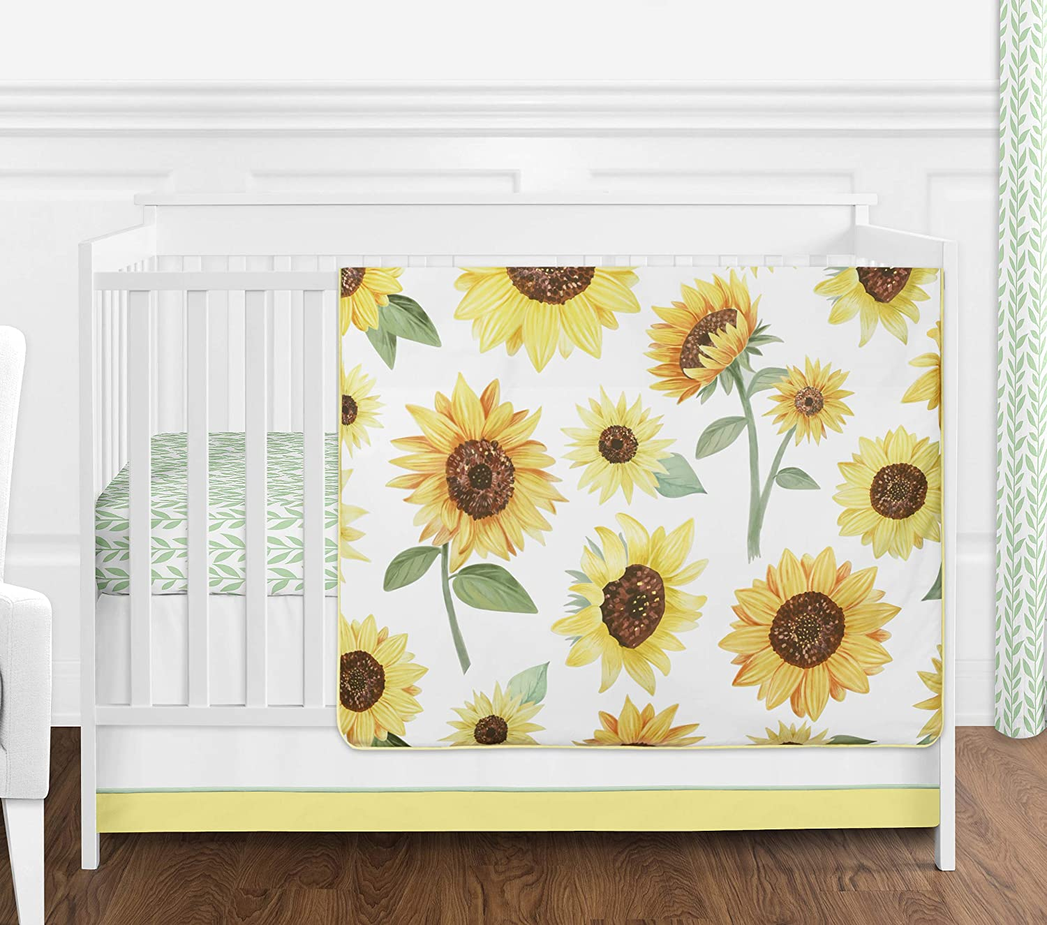 Sweet Jojo Designs Yellow Green NEW before selling ☆ Sunflower Boho and Floral White Outstanding