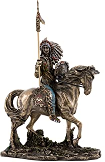 Top Collection Mandan Indian Chief Statue- Native American Sculpture in Premium Cold Cast Bronze- 7-Inch Collectible Tribe of the Great Plains Figurine