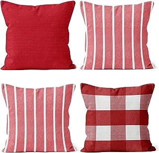 Encasa Homes poszewki na poduszki (zestaw 4 szt.) - w kratki, paski i jednolite poszewki na poduszki na kanapę, sofę, łóżk...