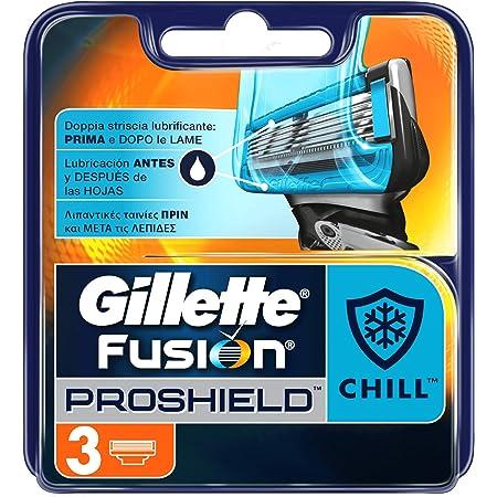 Gillette Fusion Proshield Chill Lamette di Ricambio per Rasoio Uomo, Confezione da 3 Lamette di Ricarica