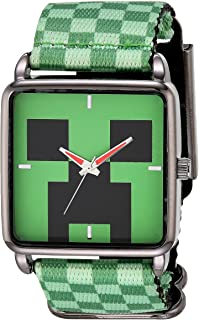 Minecraft Boys' Analog Quartz Watch with Nylon Strap, Green, 27 (Model: MIN5002AZ)
