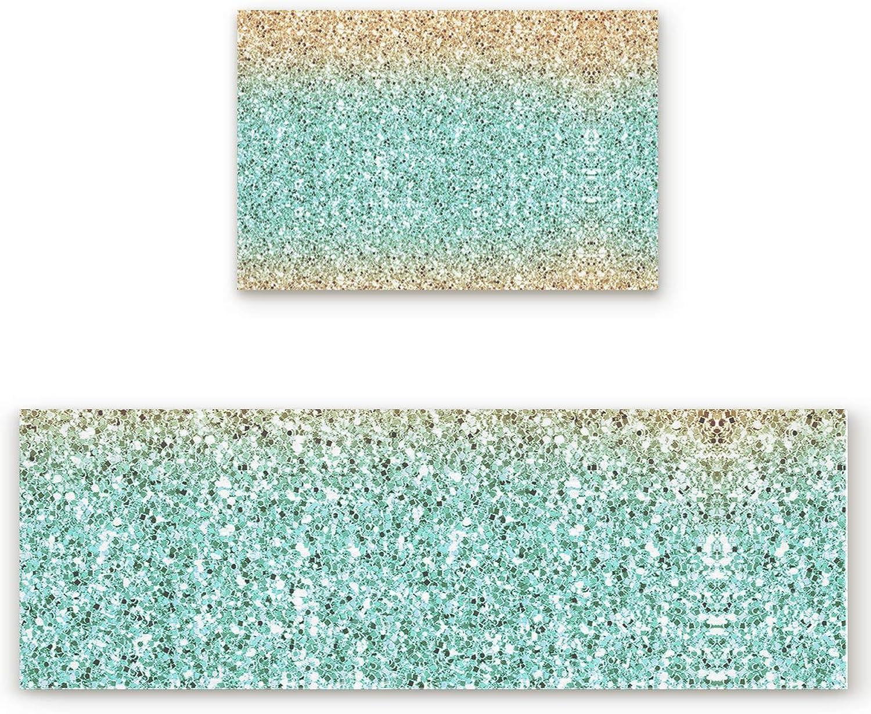Savannan 2 Piece Non-Slip Kitchen Bathroom Entrance Mat Absorbent Durable Floor Doormat Runner Rug Set - Gradient Marble