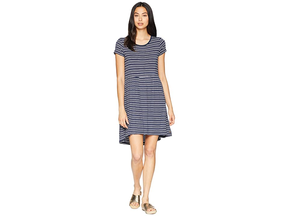 Roxy Fame For Glory Short Sleeve Dress (Dress Blues Horizontal Stripes) Women