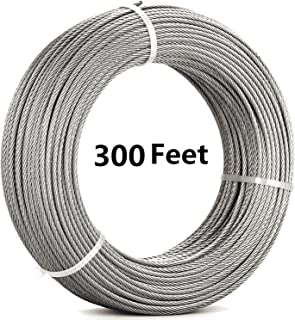 Senmit 1/8 Stainless Steel Aircraft Wire Rope for Deck Cable Railing Kit,7x7 300Feet T316 Marin Grade