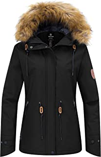 Wantdo Women's Waterproof Ski Jacket Hooded Snow Coat Mountain Fleece Parka