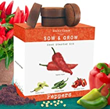 Nature's Blossom Pepper Starter Kit. Grow 4 Types of Peppers from Organic Seeds:..