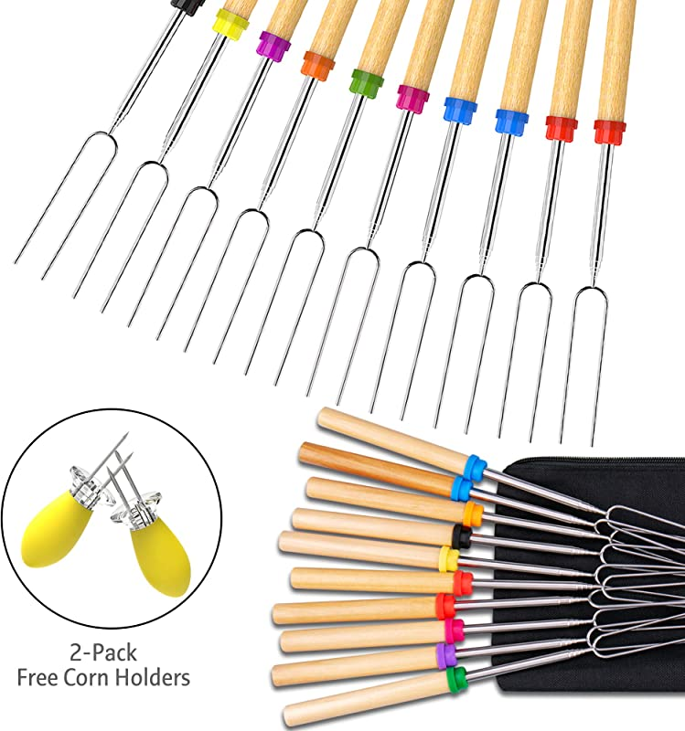 Ezire Roasting Sticks Marshmallow Roasting Sticks Set Of 10 Barbeque BBQ Skewers 32 Inch Extendable Extended Smores Hot Dog Fork 2 Pack Corn Holder BBQ At The Campfire