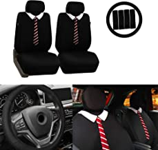 FH Group FB058102 Endearing Bowtie Flat Cloth Seat Covers w. Free Steering Wheel Cover and Seat Belt Pads, Tie