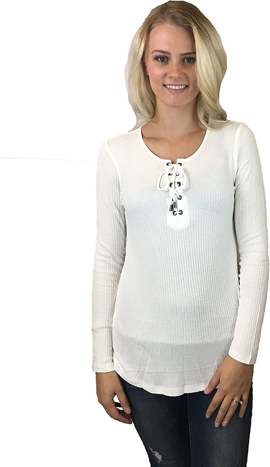 Tribal Womens Long Sleeve Rid Knit Top w Laceup Detail at Neck