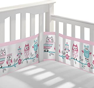 BreathableBaby Classic Breathable Mesh Crib Liner - Owl Fun Pink