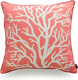 Hofdeco Beach Indoor Outdoor Cushion Cover ONLY, Water Resistant for Patio Lounge Sofa, Coral Pink Living Coral, 45cmx45cm