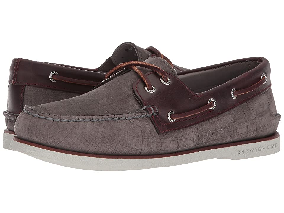 Sperry Gold A/O 2-Eye Nubuck (Grey/Burgundy) Men