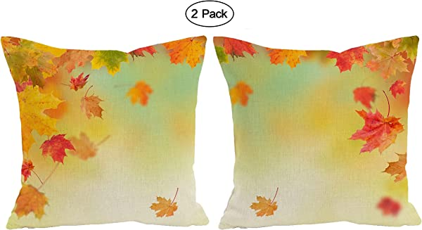 ShineSnow 2 Pack Set Of 2 Autumn Tree Maple Fall Falling Leaves Seasonal Throw Pillow Cushion Cover Case 18 X 18 Cotton Linen Square Zippered Pillowcase For Sofa Bed Home Decor