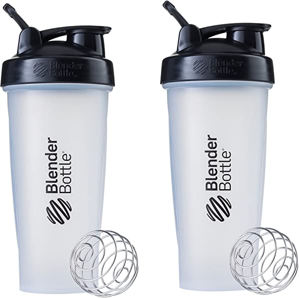 Blender Bottle Classic Loop Top Shaker Bottle 28 Ounce 2 Pack Clear Black