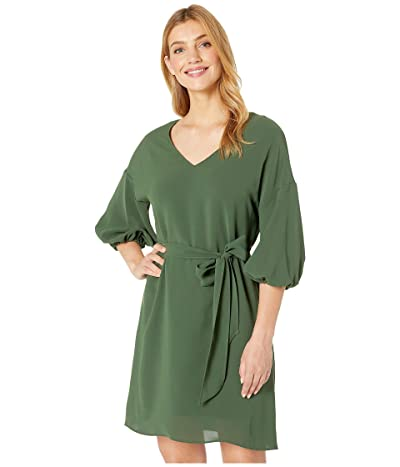 Adrianna Papell Gauzy Crepe Bubble Sleeve Dress with Tie Waist (Military Olive) Women