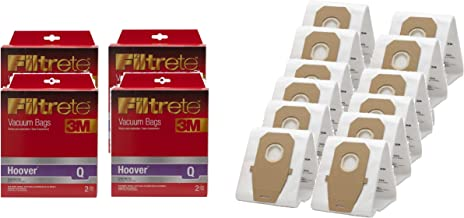 12 Hoover Type Q 3M Filtrete Synthetic HEPA Cloth Upright Vacuum Bags, fits AH10005, 12 Bulk Package.
