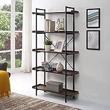 Home Accent Furnishings New 68 Inch Tall Urban Pipe Bookshelf in Dark Walnut Finish