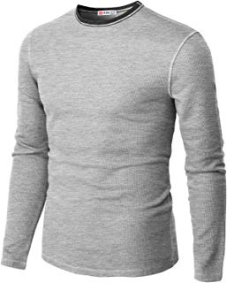 H2H Mens Casual Premium Slim Fit T-Shirts Long Sleeve Cotton Blended of Various Styles
