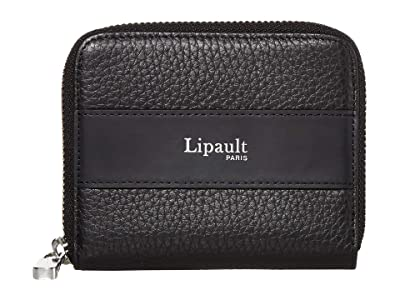 Lipault Paris Invitation Compact Zip Around Wallet (Black) Bags