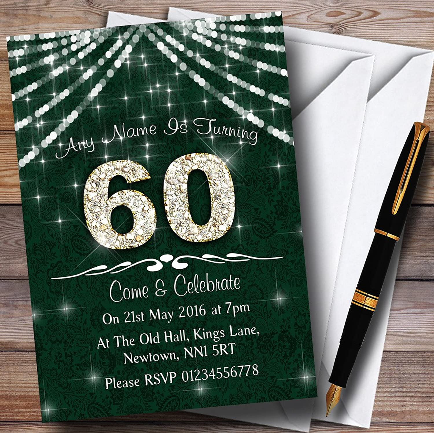 60Th Green & White Bling Sparkle Birthday Party Personalised Invitations   Invites & Envelopes