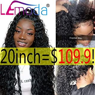 Lemoda Water Wave Lace Front Wigs Human Hair Wet and Wavy 150% Density Human Hair Wigs with Baby Hair Natural Color(20, water wave wig-150%)