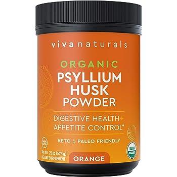 Organic Psyllium Husk Powder (Orange) - Finely Ground Psyllium Fiber Powder for Easy Mixing, Everyday Psyllium Fiber Support, Digestion and Colon Health, 20 oz (575g)