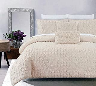 Indigo Loft Solid Cream/Light Tan 3pc Duvet Set Textured Ruched Squares with Tufts Farmhouse Pattern 100% Cotton Comforter Quilt Cover with Shams - Square Bubbles Eyelash (Full/Queen)