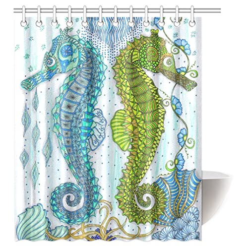 Custom Seahorse Waterproof Polyester Fabric 60w X 72h