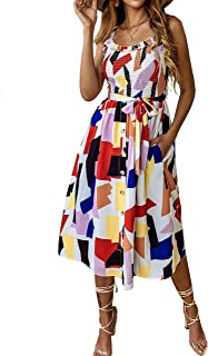 Women's Summer Sunflower Boho Spaghetti Strap Semi-Backless Button Down A-Line Midi Dress with Belt and Pockets