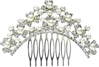 Unik Occasions Pearl and Crystal Clover Cluster Tiara Hair Comb