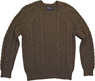 Men's Cable-Knit Fisherman Sweater L Green