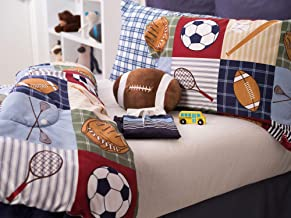 Team Sport 3-Piece Comforter Set Sports Bedding, Collegiate,Teen, Boys, Double brushed fabric, Football Shaped Decorative Pillow Included, Extra Soft, TwinSize, Blue/Green/Tan - 24013