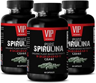 Antioxidant Spirulina 500 mg Extract - Natural Source of B-12 and Minerals, Trace Elements (3 Bottles 180 Capsules)