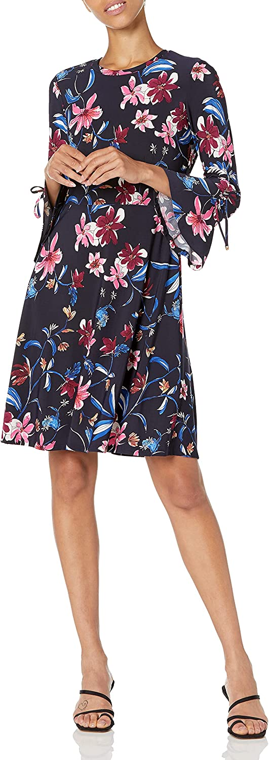 NINE WEST Women's Printed Fit and Flare Bell with 本物 実物 Sleeve Dress