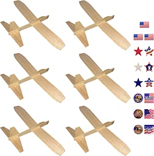 Guillows Balsa Wood Gliders Jetfire | Wooden Model Airplane Construction Kits | 12-Inch Customizable Unfinished Blank DIY Flying Toy Planes | 6-Pack with 15 Prismatic Patriotic Stickers from KYGON