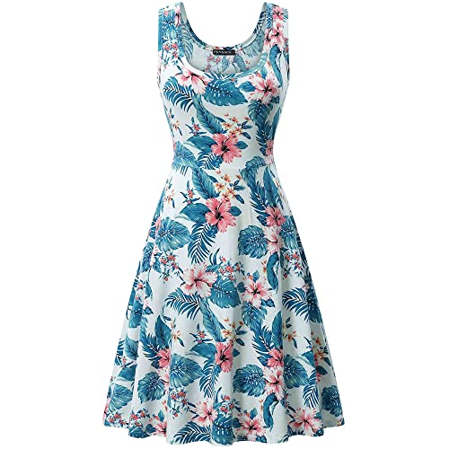 a2ca2ec8f7510 FENSACE Women's Sleeveless A line Waistline Midi Dress Casual Flared Tank  Dress