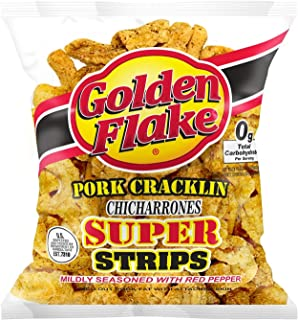 Golden Flake Pork Cracklin Super Strips, chicharrones 3.25oz, pack of 1