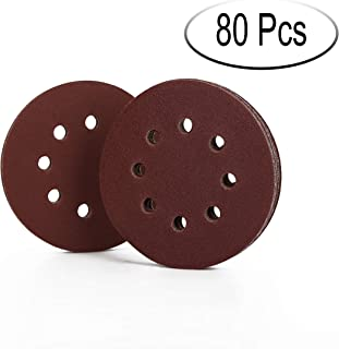80pcs 5 Inch 8 Hole Sanding Disc Assorted 40 80 120 240 360 600 800 1000 Grit for Random Orbit Sander Sandpaper Hook and Loop Sanding Sheets Pads