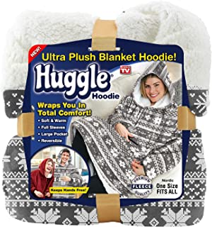 Ontel Huggle Hoodie, Ultra Plush Blanket, Nordic, One Size