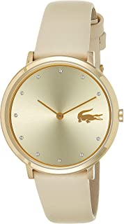 Lacoste Women'S Gold Dial Leather Band Watch - 2001030