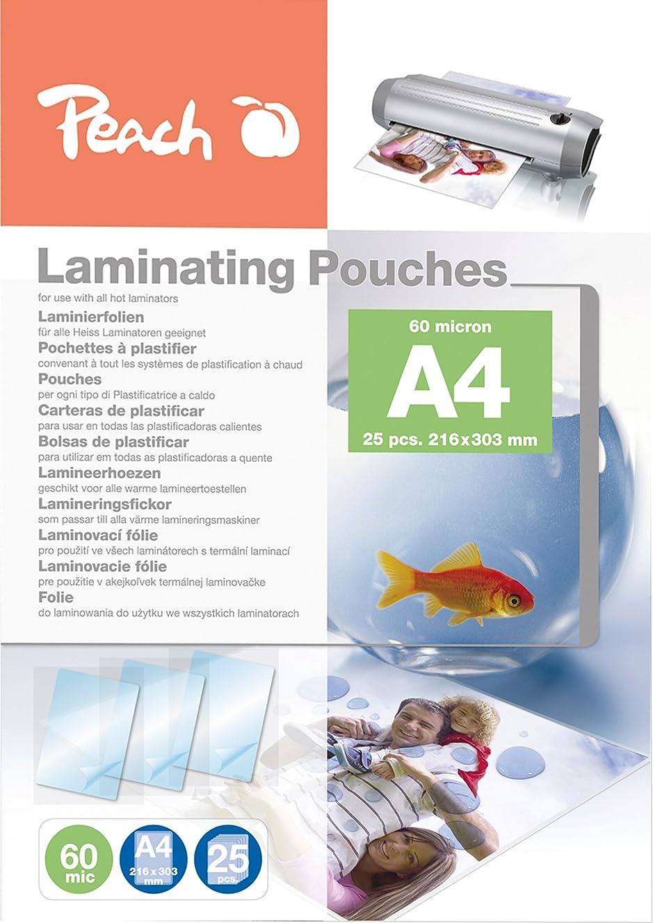 Peach Laminating Pouches A4, 60 Mic, Ppr060-02, Set Of 25