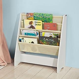 SoBuy Librería Infantil para Niños con 4 Estanterías Estantería Estándar InfantilBlanco/BeigeH71cm FRG225-WES