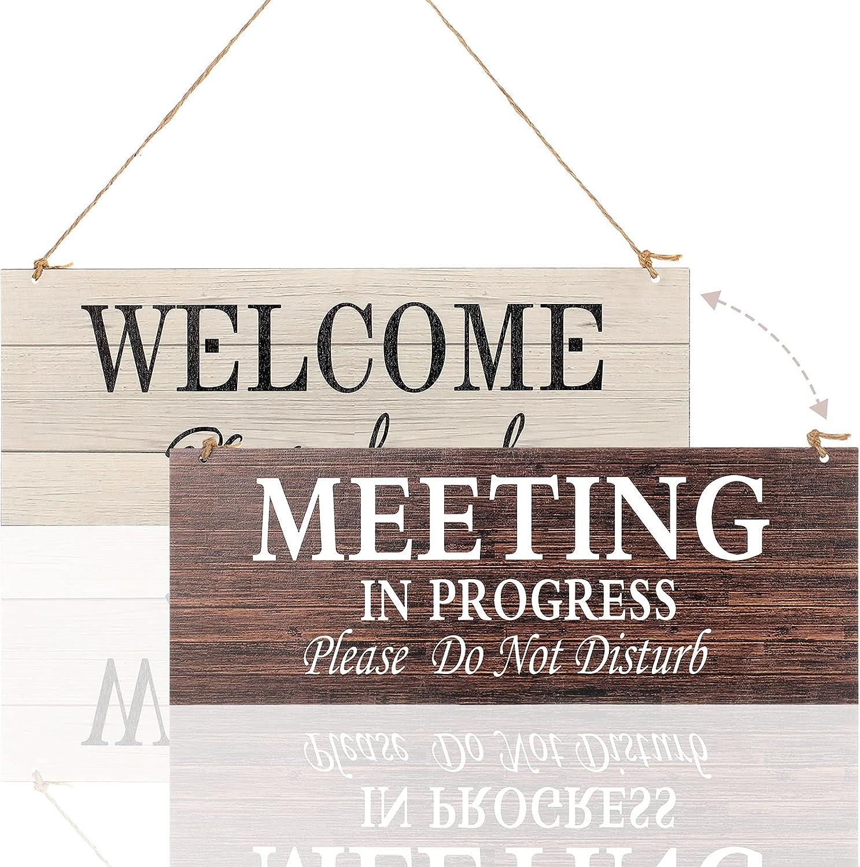 1 Piece Double-Side Meeting in Progress Please Do Not Disturb, Welcome Please Knock Hanging Wooden Sign Plaque, in a Meeting Sign for Office Door Meeting Room Home Study Door, 16 x 6 Inch