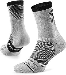 Razer Trail Running Calcetines para hombre y mujer, cojín, corte redondo, soporte de arco, 100% reciclado, antiolor (1 par), M (US Women 7-8 / US Men 5.5-6.5 ), Blanco/Negro
