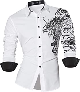 a746f09ffa2 Sportrendy Hombre Casual Slim Dragon Tattoo Manga Larga Button Down Camisa  Shirt JZS041