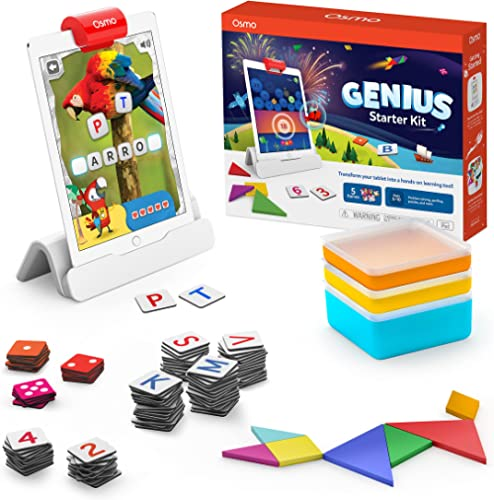 Osmo 901-00011 Genius Starter Kit for iPad- 5 Hands-On Learning Games- Ages 6-10- Math, Spelling, Problem Solving, Cr...