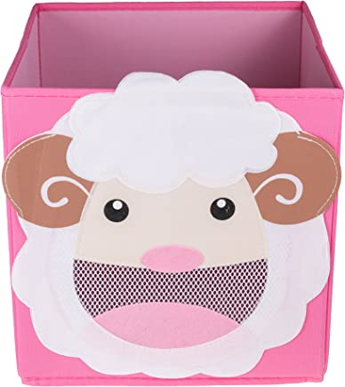 Clever Creations Cute Smiling Sheep Collapsible Toy Storage Organizer Toy Box Folding Storage Cube for Kids Bedroom