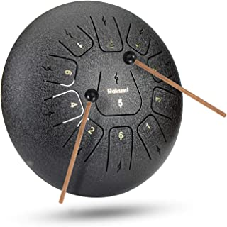 12 Inch 11 Note Steel Tongue Drum Percussion Instrument Hand Pan Drum with Drum Mallets Carry Bag