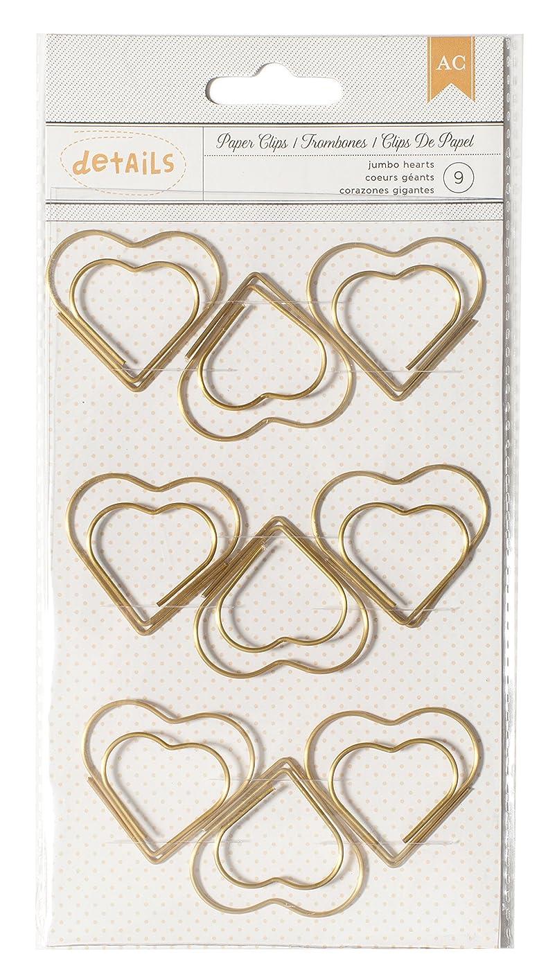 American Crafts 9 Piece Designer Desktop Heart Jumbo Paper Clips,golden color