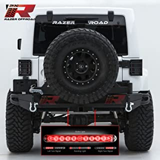 Razer Auto Rock Crawler Rear Bumper with Tire Carrier & 2x Smoke Lens 3rd Brake LED Light bar, 2
